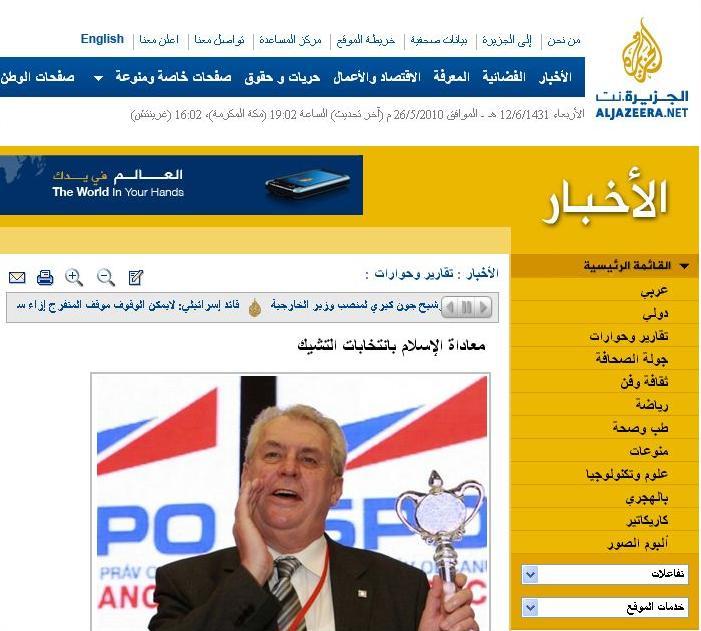 Ukázka jednoho z arabských článku o Miloši Zemanovi a jeho postojích k islámu