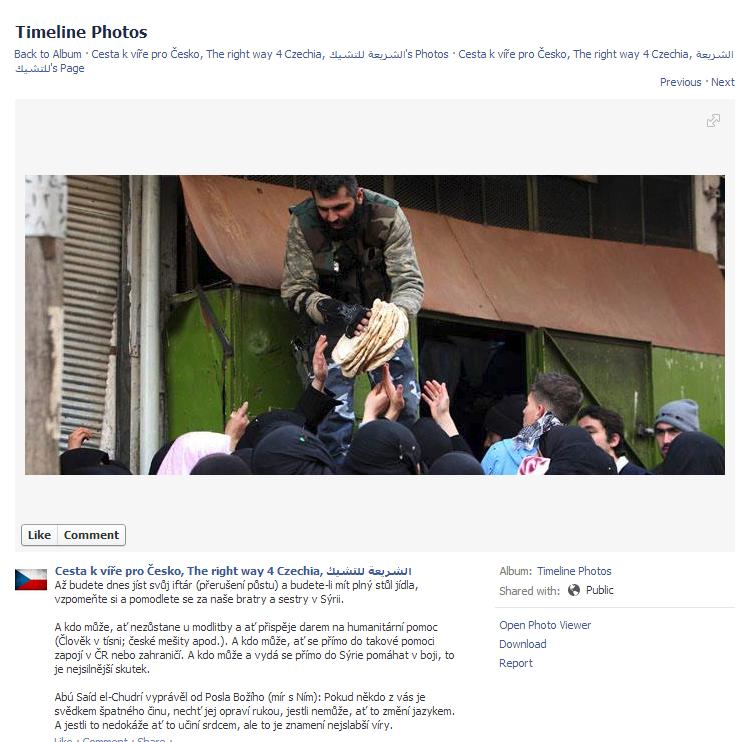 Fotgrafie výzvy k zapojení českých muslimů do bojů v Sýrii