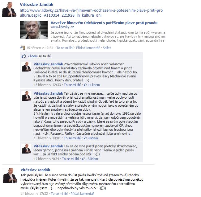 """""""Filmová kritika"""" Havlova snímku Odcházení od pana poslance Jandáka (ČSSD)"""