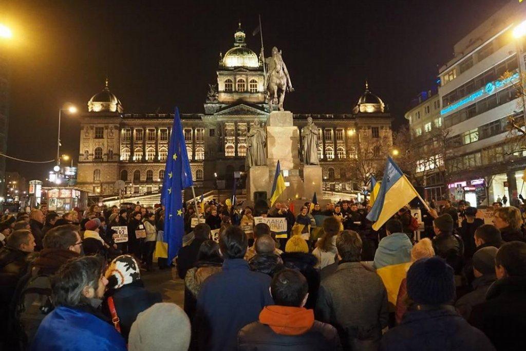 Euromaidan Praha, Václavské náměstí, Praha 22.1.2014