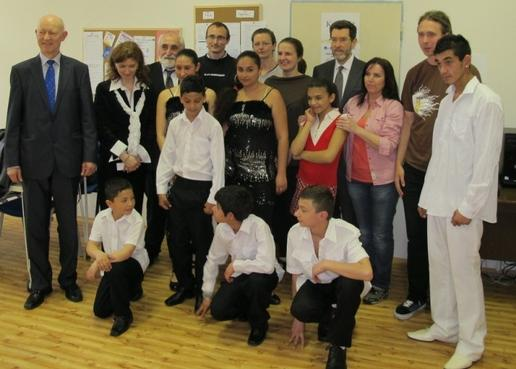 Ambassador with other guests and members of the Laco Jilo dance group at Respekt Club operated by Kotec