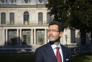 Ambassador Eisen stands before the Petschek Villa in Prague in this photograph from the Washington Post