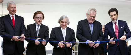 Ribbon-cutting ceremony for Civil Nuclear Cooperation Center at the Czech Technical University.  In picture from left: Rector of Czech Technical University Petr Konvalinka, Deputy Education Minister Petr Mlsna,  U.S. Energy Secretary Ernest Moniz, Czech President Miloš Zeman, U.S. Ambassador Norman Eisen.