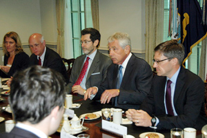 Defense Secretary Chuck Hagel and I at a meeting with the  Czech delegation.