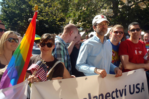 Ambassador Eisen leads Embassy participation in last year's Prague Pride parade.