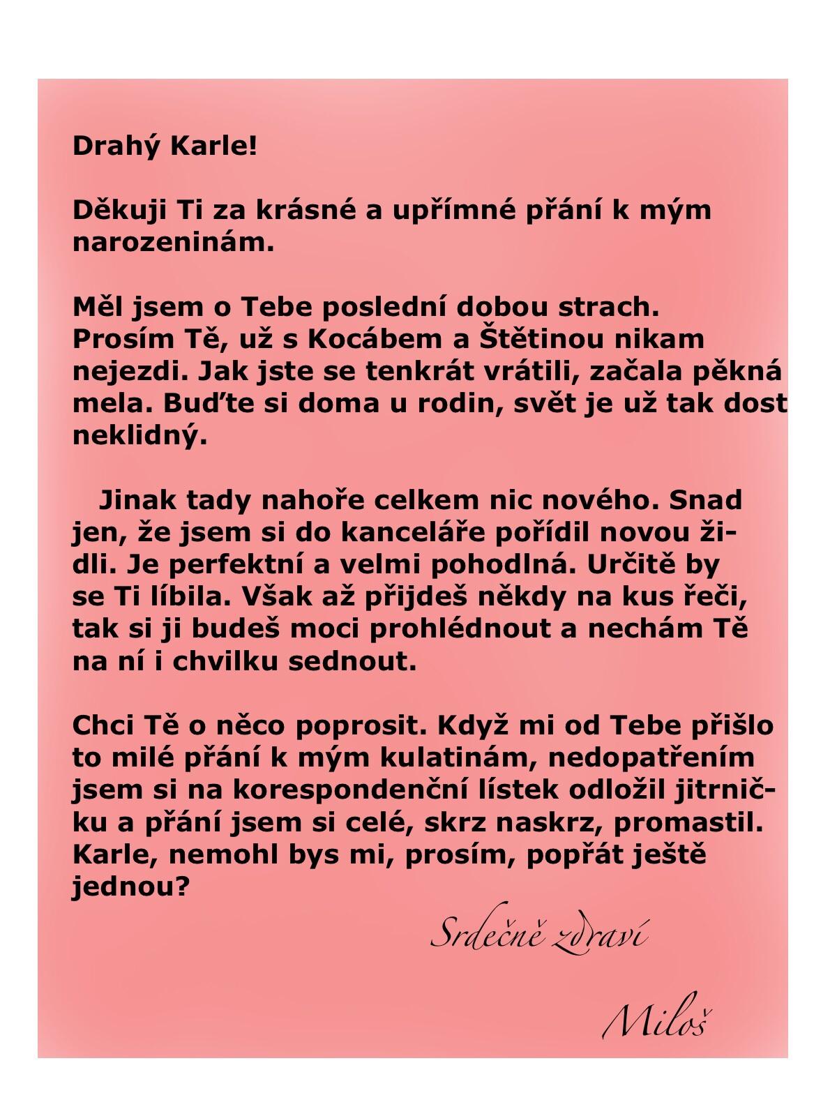 dopis k narozeninám Prezident děkuje Karlovi za přání k narozeninám   Blog iDNES.cz dopis k narozeninám