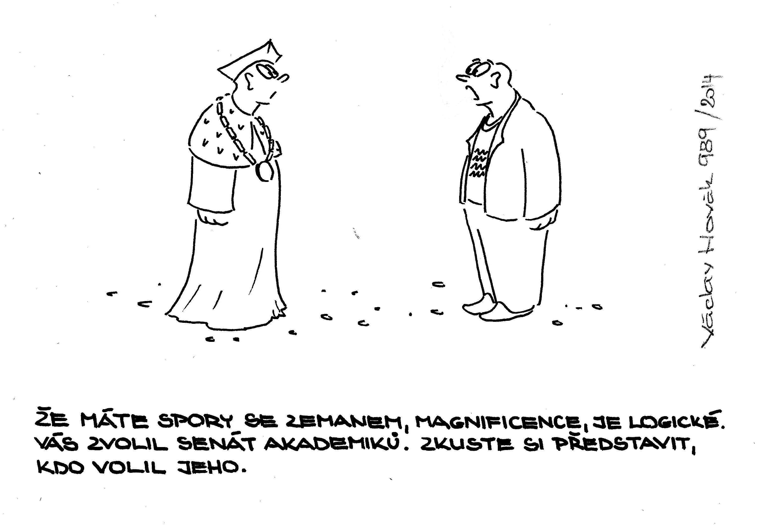 Václav Novák kreslený humor rektor hrad