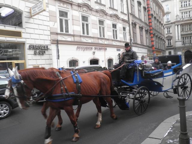 Kočáry v ulicích Vídně