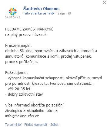 Inzerát Šantovka Olomouc