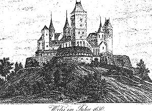 hrad Veliš, údajná podoba kolem roku 1650