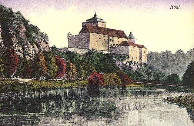 Černý rybník a hrad Kost, stará pohlednice