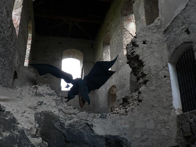 Drak poletující v interiéru.