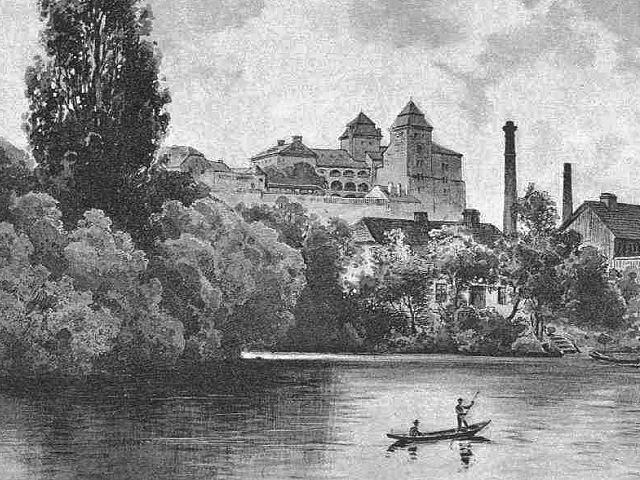 Boleslavský hrad, staré vyobrazení, pohled přes řeku Jizeru, ještě není přistavěno severozápadní křídlo.