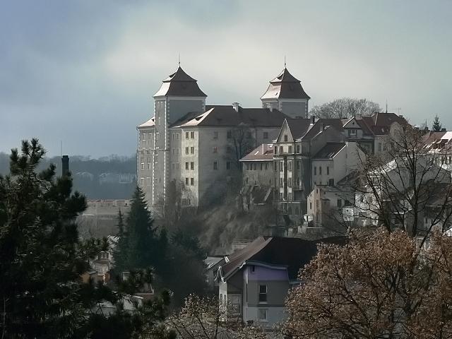 Boleslavský hrad od severovýchodu, únor 2012.