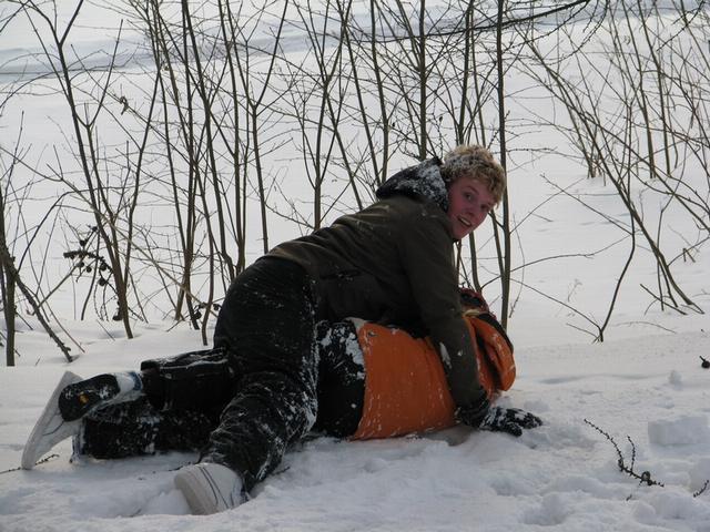 M.Matyáš, děti ve sněhu