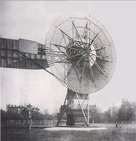 První větrná elektrárna postavená  Američanem Charlesem F. Brushem