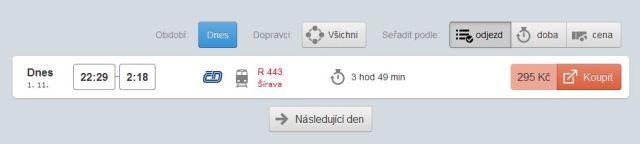 Poslední večerní spojení z Prahy do Ostravy vlakem R 443