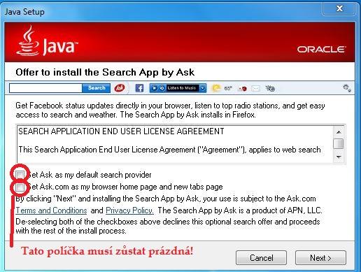 Druhý krok instalace Javy - pozor na Ask.com